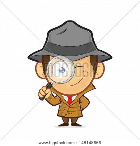 Clipart picture of a detective cartoon character holding a magnifying glass poster