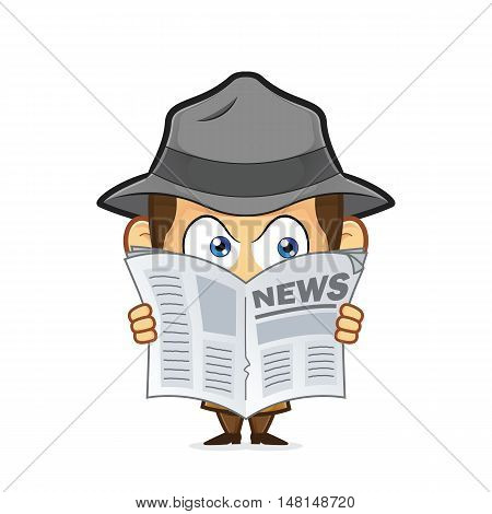 Clipart picture of a detective cartoon character spying through newspaper
