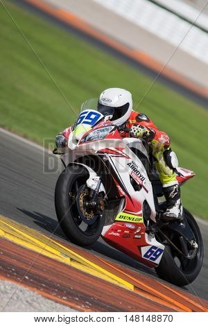CHESTE, SPAIN - SEPTEMBER 17th: Hugo Abadie in SuperStock600 during Spanish Speed Championship at Cheste Circuit on September 17, 2016 in Cheste, Spain