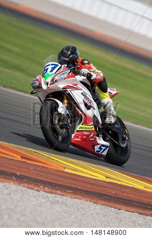 CHESTE, SPAIN - SEPTEMBER 17th: Sergio Pastrana in SuperStock600 during Spanish Speed Championship at Cheste Circuit on September 17, 2016 in Cheste, Spain
