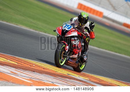CHESTE, SPAIN - SEPTEMBER 17th: Borja Quero in SuperStock600 during Spanish Speed Championship at Cheste Circuit on September 17, 2016 in Cheste, Spain