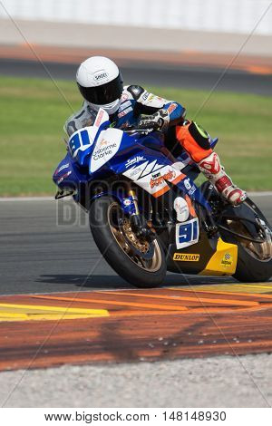 CHESTE, SPAIN - SEPTEMBER 17th: Aleix Aulestia in SuperStock600 during Spanish Speed Championship CEV at Cheste Circuit on September 17, 2016 in Cheste, Spain