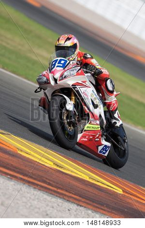 CHESTE, SPAIN - SEPTEMBER 17th: Christian Palomares in SuperStock600 during Spanish Speed Championship at Cheste Circuit on September 17, 2016 in Cheste, Spain