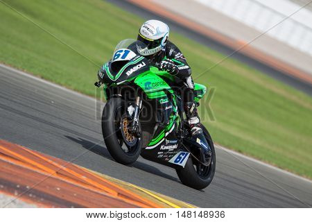 CHESTE, SPAIN - SEPTEMBER 17th: Marc Miralles in SuperStock600 during Spanish Speed Championship CEV at Cheste Circuit on September 17, 2016 in Cheste, Spain