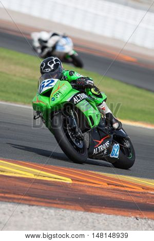 CHESTE, SPAIN - SEPTEMBER 17th: Francisco Hidalgo in SuperStock600 during Spanish Speed Championship at Cheste Circuit on September 17, 2016 in Cheste, Spain