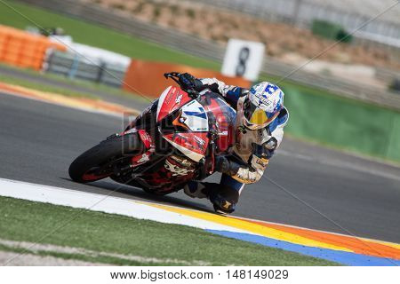 CHESTE, SPAIN - SEPTEMBER 17th: Adrian Menchen in SuperStock600 during Spanish Speed Championship CEV at Cheste Circuit on September 17, 2016 in Cheste, Spain