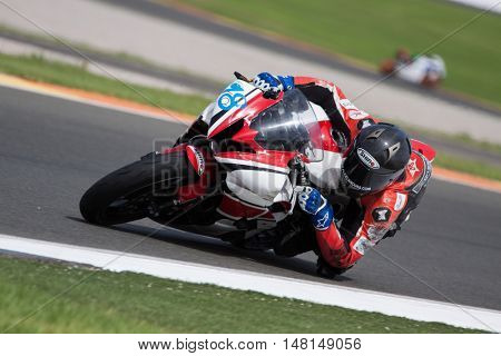 CHESTE, SPAIN - SEPTEMBER 17th: Alejandro Canovas in SuperStock600 during Spanish Speed Championship CEV at Cheste Circuit on September 17, 2016 in Cheste, Spain