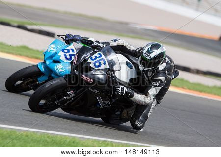 CHESTE, SPAIN - SEPTEMBER 17th: 36 Yousef Soriano, 65 Carlos Garcia in Open600 during Spanish Speed Championship CEV at Cheste Circuit on September 17, 2016 in Cheste, Spain