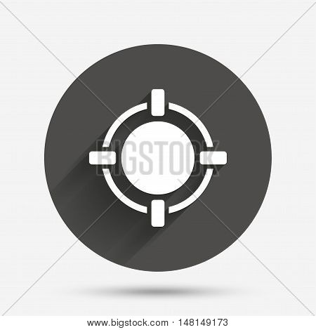 Crosshair sign icon. Target aim symbol. Circle flat button with shadow. Vector