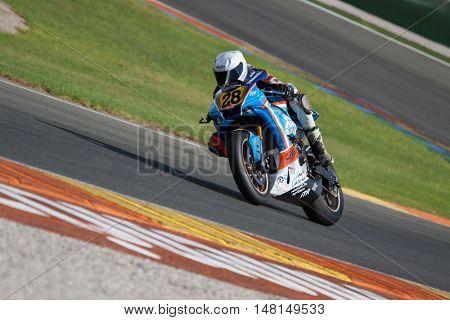 CHESTE, SPAIN - SEPTEMBER 17th: Joan Garcia in Open1000 during Spanish Speed Championship CEV at Cheste Circuit on September 17, 2016 in Cheste, Spain