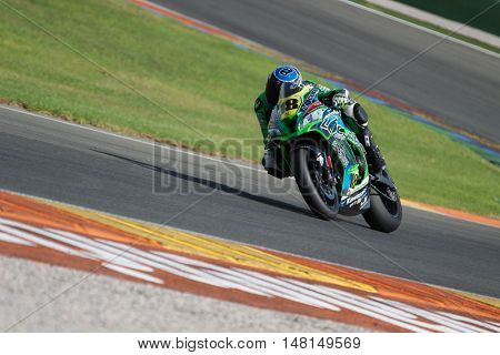 CHESTE, SPAIN - SEPTEMBER 17th: Lucas de Ulacia in SuperStock1000 during Spanish Speed Championship CEV at Cheste Circuit on September 17, 2016 in Cheste, Spain