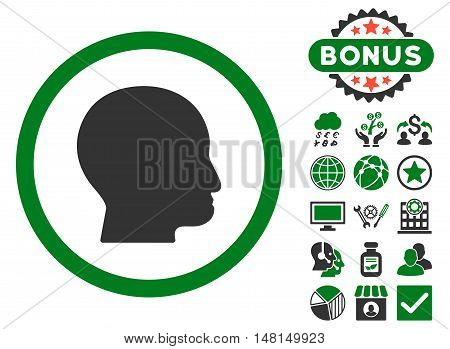 Bald Head icon with bonus symbols. Vector illustration style is flat iconic bicolor symbols green and gray colors white background.