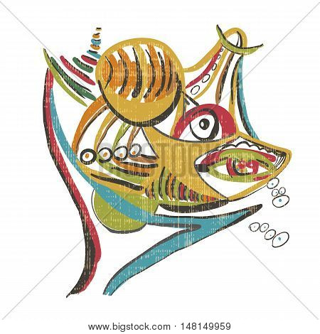 Shark with prey. Style of Abstract art Suprematism Constructivism. Design element in vintage style.