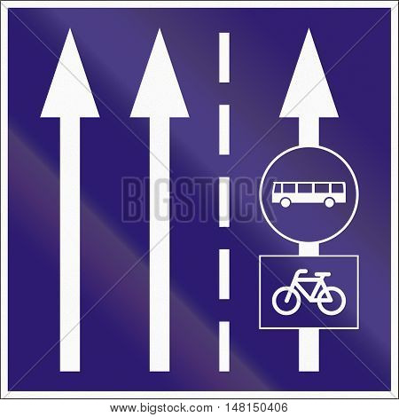 Informatory Hungarian Road Sign - Two Lanes With Additional Bus And Bike Lane