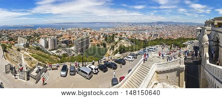Aerial Panoramic View Of Marseille City, France