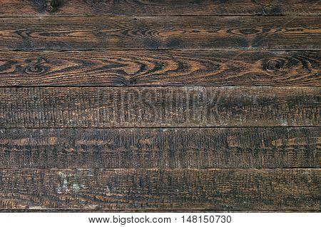Dark brown old rustic wood table. Dark wood texture. Top view