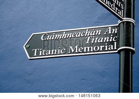 Titanic memorial road sign in English and Irish
