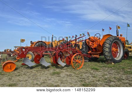 ROLLAG, MINNESOTA, Sept 1. 2016: The Minneapolis Moline tractors and machinery are featured line of farm equipment at the West Central Steam Threshers Reunion in Rollag, MN attended by 1000's held annually on Labor Day weekend.