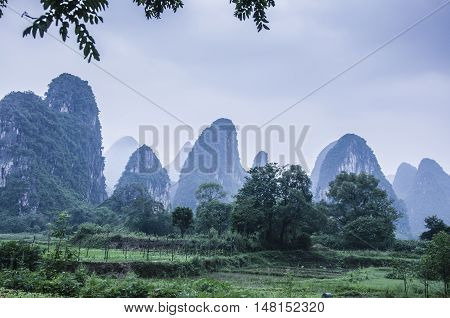 The karst mountains and rural scenery in spring