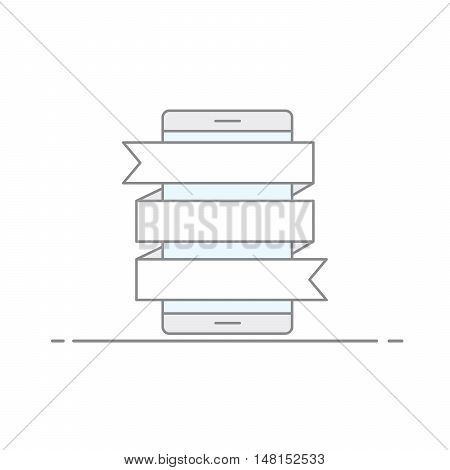 The concept of advertising images with writhing flags for posting information on a mobile phone background. Vector illustration in a linear style isolated on white background