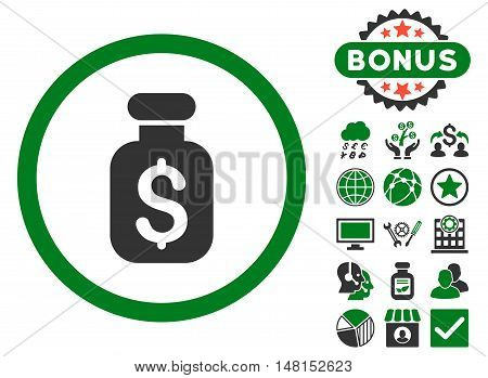 Business Remedy icon with bonus pictogram. Vector illustration style is flat iconic bicolor symbols green and gray colors white background.