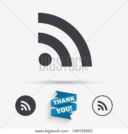 RSS sign icon. RSS feed symbol. Flat icons. Buttons with icons. Thank you ribbon. Vector