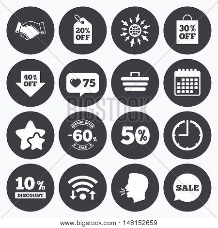 Calendar, wifi and clock symbols. Like counter, stars symbols. Sale discounts icon. Shopping, handshake and cart signs. 10, 50 and 60 percent off. Special offer symbols. Talking head, go to web symbols. Vector