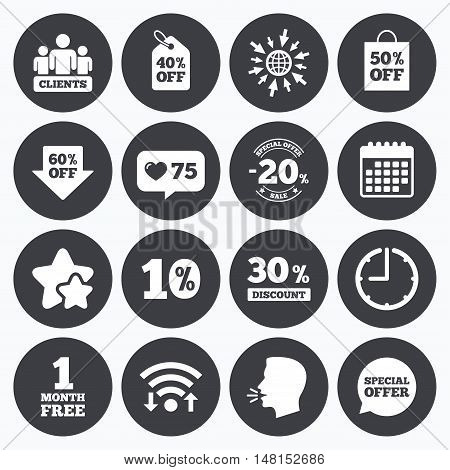 Calendar, wifi and clock symbols. Like counter, stars symbols. Sale discounts icon. Shopping, clients and speech bubble signs. 20, 30, 40 and 50 percent off. Special offer symbols. Talking head, go to web symbols. Vector