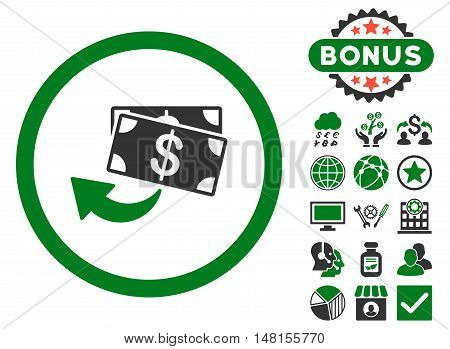 Cashback icon with bonus images. Vector illustration style is flat iconic bicolor symbols green and gray colors white background.