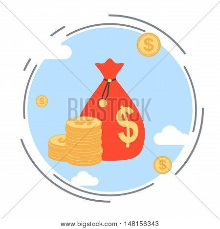 Money bag, financial investment, wealth accumulation, bank funds flat design style vector concept