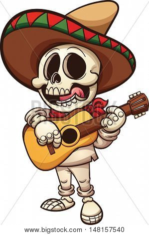 Mexican musician skeleton with guitar. Vector clip art illustration with simple gradients. All in a single layer.