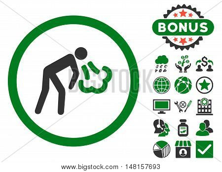 Cough icon with bonus design elements. Vector illustration style is flat iconic bicolor symbols, green and gray colors, white background.