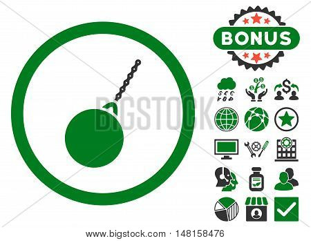 Destruction Hammer icon with bonus images. Vector illustration style is flat iconic bicolor symbols, green and gray colors, white background.