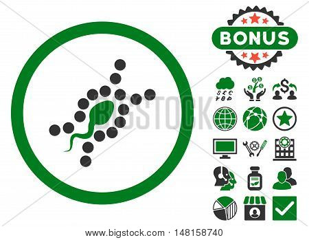 DNA Replication icon with bonus images. Vector illustration style is flat iconic bicolor symbols, green and gray colors, white background.
