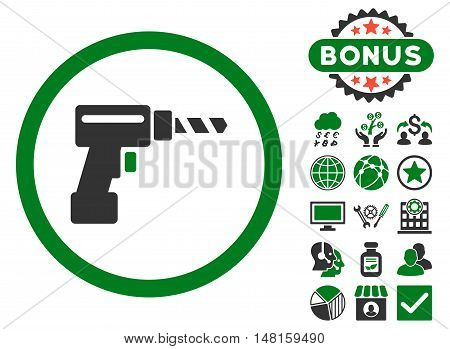Drill icon with bonus pictogram. Vector illustration style is flat iconic bicolor symbols, green and gray colors, white background.