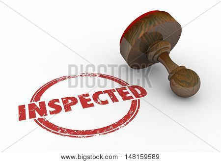 Inspected Checked Approved Round Stamp Word 3d Illustration