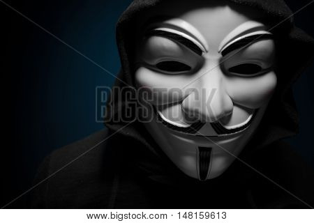 Saint-Petersburg, Russia - September 16, 2016: Photo of man wearing Vendetta mask, studio shot