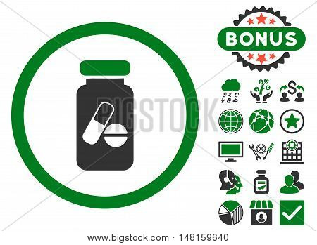 Drugs Phial icon with bonus pictogram. Vector illustration style is flat iconic bicolor symbols, green and gray colors, white background.