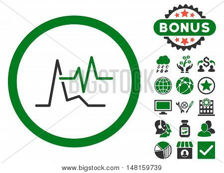 ECG icon with bonus symbols. Vector illustration style is flat iconic bicolor symbols, green and gray colors, white background.