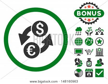 Euro Dollar Exchange icon with bonus pictures. Vector illustration style is flat iconic bicolor symbols, green and gray colors, white background.