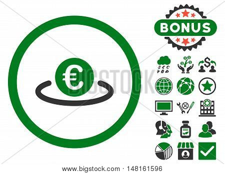 Euro Placement icon with bonus pictures. Vector illustration style is flat iconic bicolor symbols, green and gray colors, white background.