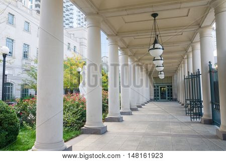 Entryway with colonnade and garden at Schermerhorn Symphony Center