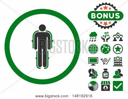 Exoskeleton icon with bonus pictures. Vector illustration style is flat iconic bicolor symbols, green and gray colors, white background.