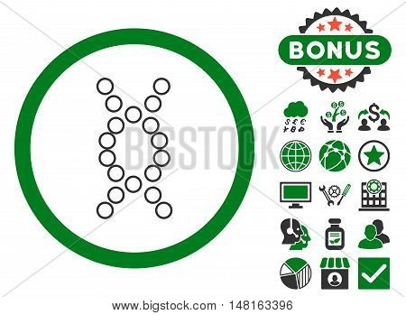 Genome icon with bonus images. Vector illustration style is flat iconic bicolor symbols, green and gray colors, white background.