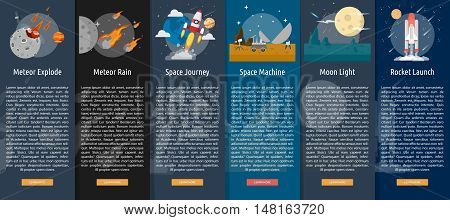 Space and Universe Vertical Banner Concept V.2 | Set of great vertical banner flat design illustration concepts for space, universe, galaxy, astrology, planet and much more.