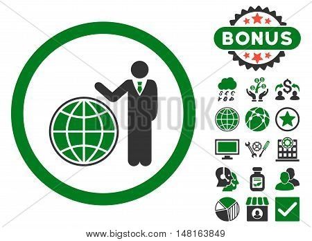 Global Manager icon with bonus elements. Vector illustration style is flat iconic bicolor symbols, green and gray colors, white background.