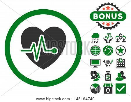 Heart Pulse icon with bonus symbols. Vector illustration style is flat iconic bicolor symbols, green and gray colors, white background.