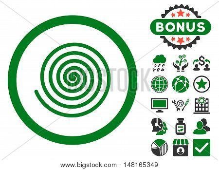 Hypnosis icon with bonus images. Vector illustration style is flat iconic bicolor symbols, green and gray colors, white background.