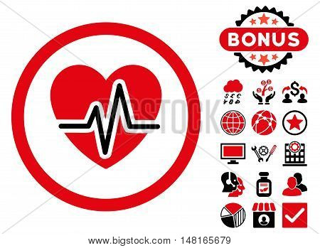 Heart Diagram icon with bonus pictogram. Vector illustration style is flat iconic bicolor symbols, intensive red and black colors, white background.