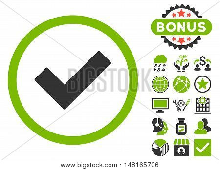 Accept icon with bonus elements. Vector illustration style is flat iconic bicolor symbols, eco green and gray colors, white background.
